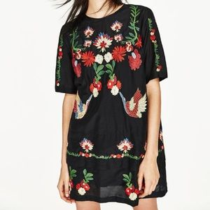 Zara embroidered floral short dress